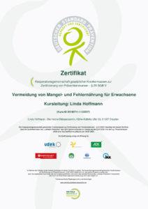 Zertifikat ZPP Vermeidung von Mangel- und Fehlernährung für Erwachsene Linda Hoffmann deine mobile Ernährungstherapeutin in Dresden